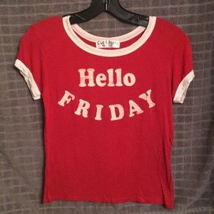 """""""Hello Friday"""" Distressed T-Shirt"""